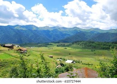 OMALO, GEORGIA - JULY 25, 2016: Omalo vilage in Tusheti region