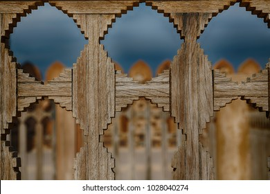 in the oman castle the terrace wood and  the sky