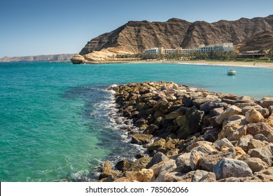 Oman Coast Landscape at Barr Al Jissah in Oman Shangri-la resort. It is located about 20 km east of Muscat on NOVEMBER 26, 2017 in Muscat, Oman.