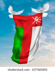 Oman flag carried by white pigeon with sky background