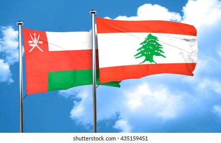 Oman flag with Lebanon flag, 3D rendering