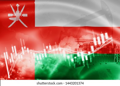 Oman flag, stock market, exchange economy and Trade, oil production, container ship in export and import business and logistics.