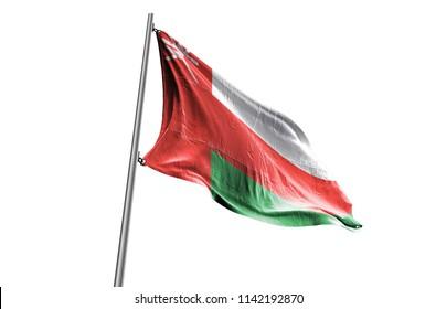 OMAN Flag waving white background