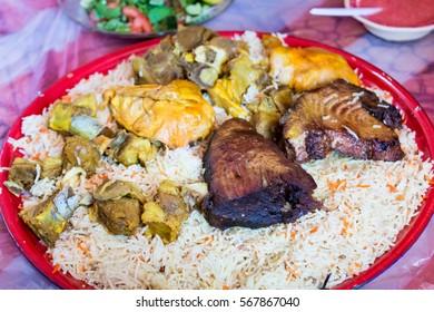 Oman Food. arabic food. meat kabsa meal, mixed rice.Arabic food.