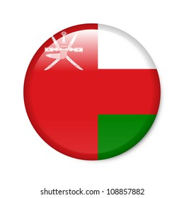 Oman - glossy button with flag