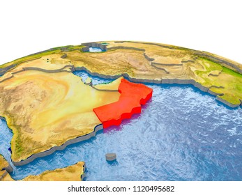 Oman highlighted in red on globe with realistic land surface, visible country borders and water in place of oceans. 3D illustration. Elements of this image furnished by NASA.