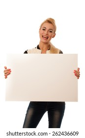 oman holding blank card banner isolated over white