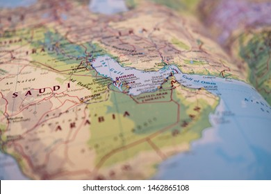 Oman, Middle East - Circa July 2019: Shallow focus showing the Straight of Hormuz sensitive waterway located in the Persian gulf. Neighbouring, out of focus areas including Iran and Saudi are visible.