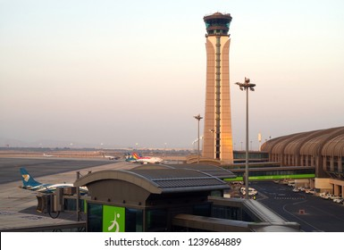 Oman, Muscat, dated 16th of November 2018. Beautiful view of the control tower of the new airport of Muscat in the Sultanate of Oman.