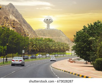 Oman. Muscat. Quay.  Road al-Bahri is a large frontage main road of Muscat. With the Corniche can be seen the observation deck.