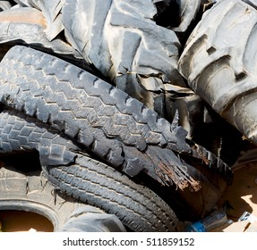 in oman old tires and desert  rubbish dump