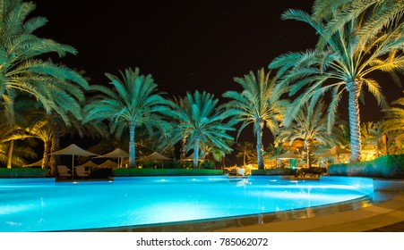 Oman Pool at Barr Al Jissah in Oman Shangri-la resort. It is located about 20 km east of Muscat on NOVEMBER 24, 2017 in Muscat, Oman.