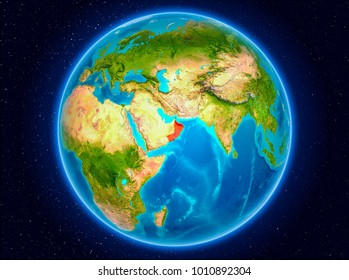 Oman in red from Earth's orbit. 3D illustration. Elements of this image furnished by NASA.