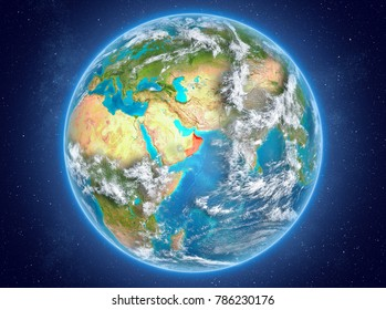 Oman in red on model of planet Earth with clouds and atmosphere in space. 3D illustration. Elements of this image furnished by NASA.