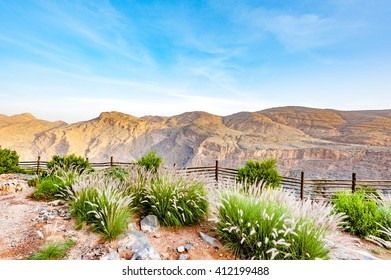 Oman Ridge Landscape at Jabal Akhdar in Al Hajar Mountains, Oman at morning. This place is 2,000 meters above sea level.