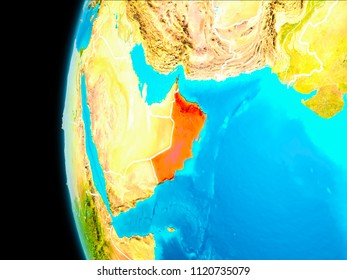 Oman as seen from Earth's orbit on planet Earth highlighted in red with visible borders. 3D illustration. Elements of this image furnished by NASA.