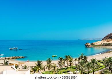 Omani Coast Landscape at Barr Al Jissah in east of Muscat, Oman.
