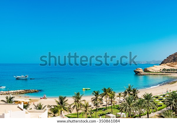 Omani Coast Landscape at Barr Al Jissah in east of Muscat, Oman.