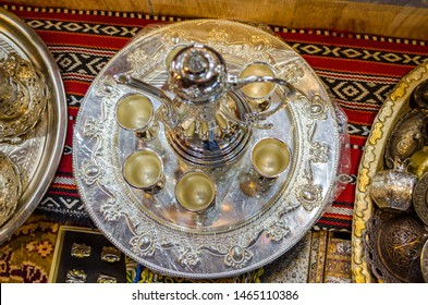 Omani Coffee (kahwa) cups and the jug on display in Muscat, Oman.