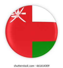 Omani Flag Button - Flag of Oman Badge 3D Illustration