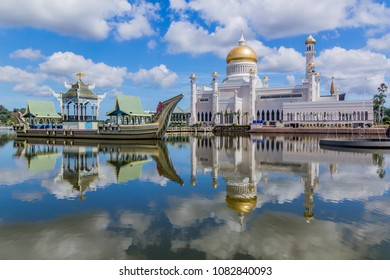Omar Ali Saifuddien Mosque and a replica of a royal barge in Bandar Seri Begawan, Brunei