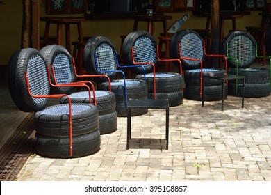 OMBIKA, NAMIBIA - FED 3, 2016: Chairs made from used car tires. An example of a non-standard design from recycled materials