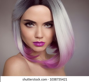 Ombre blonde bob short hairstyle. Beautiful hair coloring woman. Fashion Trendy haircut. Blond model with short shiny hairstyle. Concept Coloring Hair. Beauty Salon.