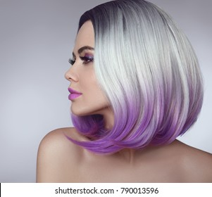 Ombre bob hair coloring woman. Beauty Portrait of blond model with short shiny hairstyle. Concept Coloring Hair.