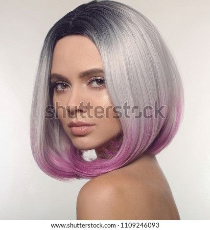 Ombre Bob Short Hairstyle Beautiful Hair Stock Photo Edit Now