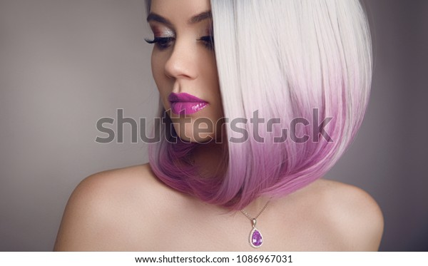 Ombre Bob Short Hairstyle Diamond Jewelry Stockfoto (Jetzt ...