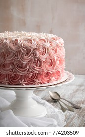 Ombre Rose Cake. Copy Space.