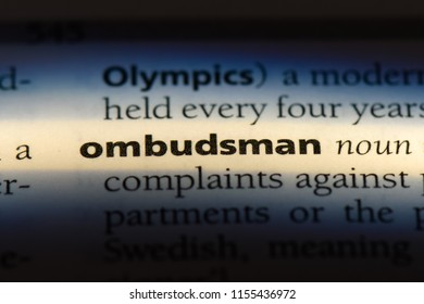 ombudsman word in a dictionary. ombudsman concept.