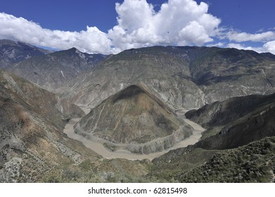 the Omega Bend of  Yangtze River, Yunnan Province, China