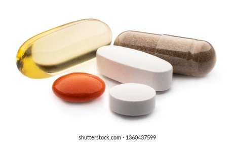 Omega-3 softgels, Supplement capsules and tablets. A set of different kind medical pills on a white, isolated background.