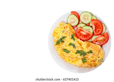 Omelet with cheese and vegetables. top view. isolated on white
