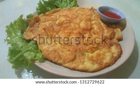 Omelet fried beaten egg
