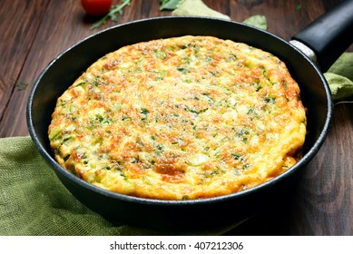 Omelette in frying pan, close up view