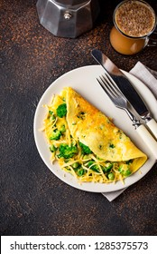 Omelette with green vegetable and cheese for breakfast