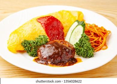Omelette rice hamburgsteak spaghetti plate