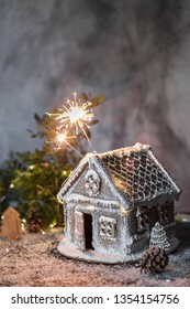 Omemade gingerbread house at night