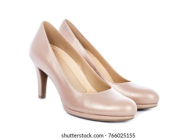 omen's Nude High Heel Pump Shoes Isolated on White