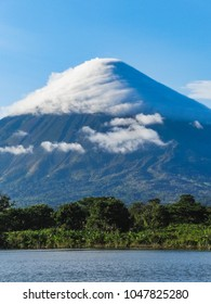 Ometepe island nicaragua view of voclano concepcion with clouds