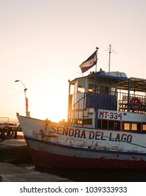 Ometepe, Nicaragua - February 2018 - Ship at the port of Ometepe during sunset.
