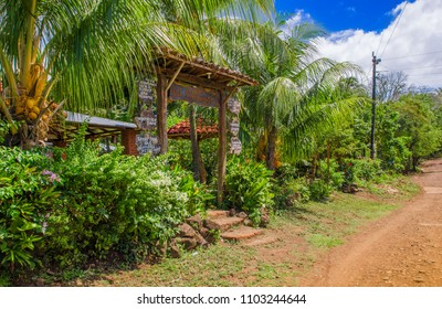 OMETEPE, NICARAGUA, MAY, 14, 2018: Outdoor view of ecofriendly restaurant, cafe imperio, located to couple minuts to dowtown on Isla Ometepe