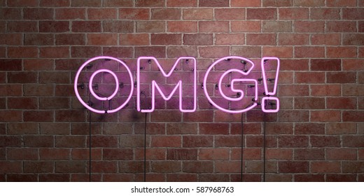 OMG! - fluorescent Neon tube Sign on brickwork - Front view - 3D rendered royalty free stock picture. Can be used for online banner ads and direct mailers.