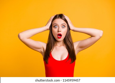 Omg wow incredible wtf! Fun joy comic person concept. Close up photo portrait of funny funky pretty cute astonished student life-guard doesn't know what to do looking camera isolated bright background