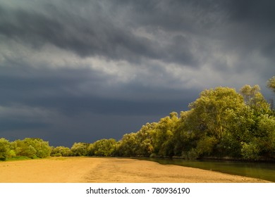 Ominous stormy sky over natural lake