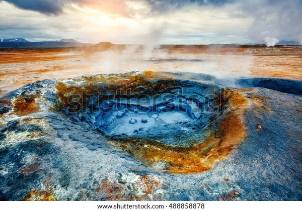 Ominous view geothermal area Hverir (Hverarond) near Lake Myvatn. Popular tourist attraction. Dramatic and picturesque scene. Location place Krafla northeastern region of Iceland, Europe. Beauty world