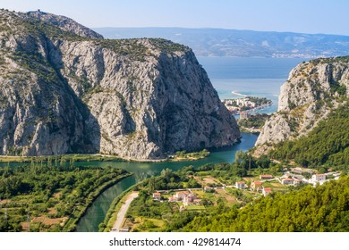 OMIS, CROATIA, AUGUST 8. 2016: beautiful panorama of Omis city in Croatia. between Adriatic sea, mountain Omiska Dinara and river Cetina