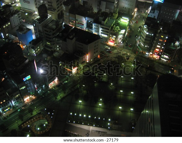 Omiya city, Tokyo, Japan at night, taken from above